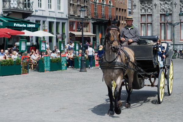 Parcourir la cité médiévale de Bruges en calèche