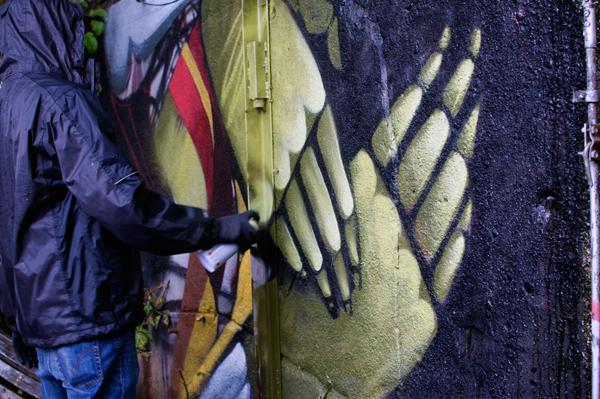 Performance live de l'artiste graffiti Danny Figueroa