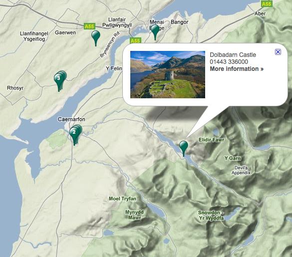 Plan d'accès au château de Dolbadarn