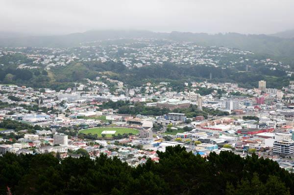 Vue sur The Basin reserve à Wellington