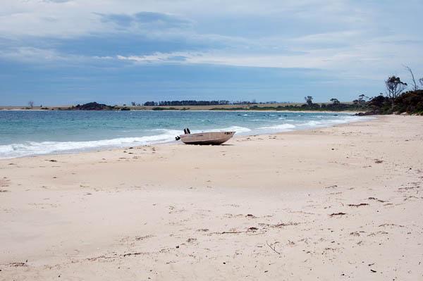 Premier paysage de plage en arrivant en Tasmanie