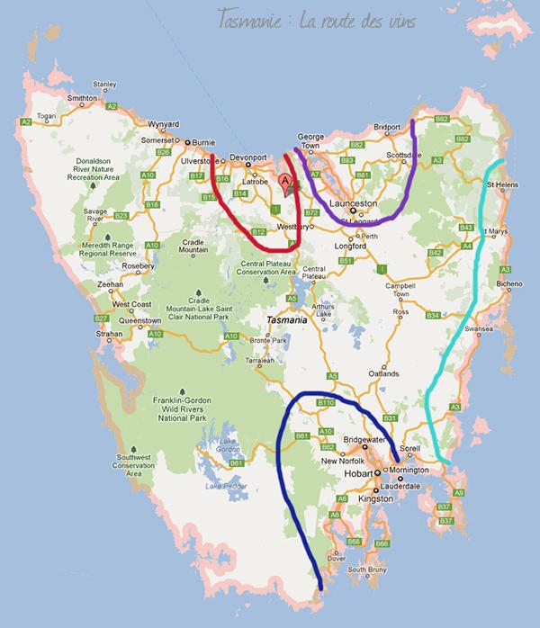 Carte des régions du vin en Tasmanie