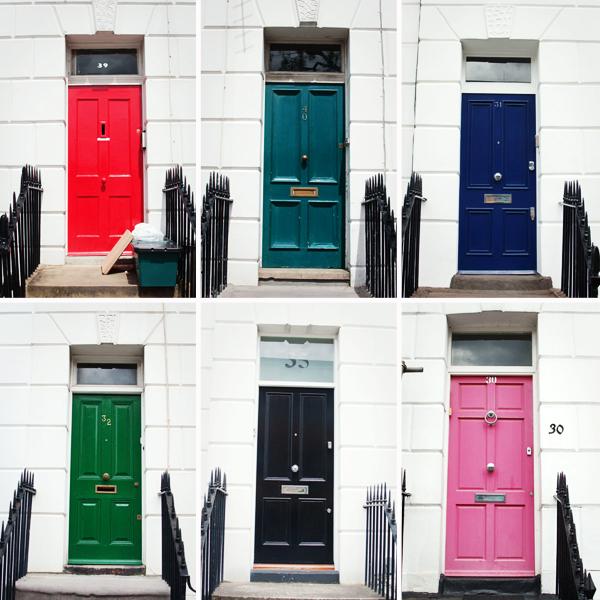 Portes colorées du quartier de Angel à Londres