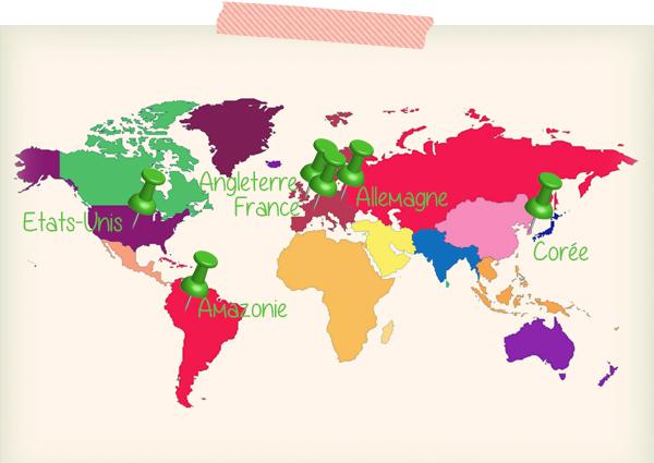 Carte du Tour du Monde en Beauté