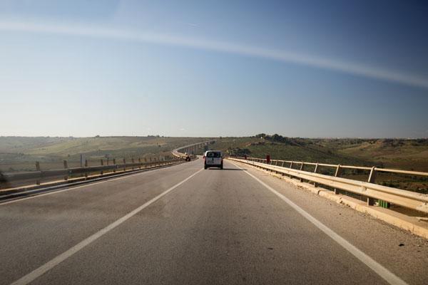 Sur la route vers Trapani en Sicile